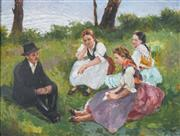 Sale 8821 - Lot 589 - Vilmos Nagy (1874 - 1953) - Peasants Resting in the Countryside 57.5 x 76.5cm