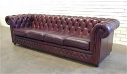 Sale 9117 - Lot 1063 - Leather buttoned 4 seater chesterfield lounge, by Gascoigne (h:74 x w:255 x d:87cm)