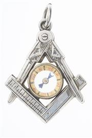 Sale 8293 - Lot 316 - A LATE 19TH CENTURY SILVER MASONIC PENDANT; set with a compass.