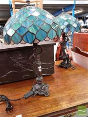 Sale 8480 - Lot 1060 - Pair of Leadlight Table Lamps