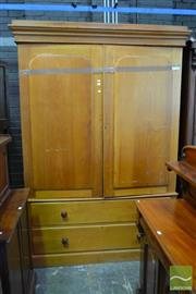 Sale 8520 - Lot 1015 - Large Edwardian Kauri Pine Wardrobe, with two arched panel doors & two drawers to base