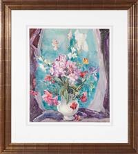 Sale 8735 - Lot 91 - Margaret Coen, Still Life with fuschia, iris etc , watercolour, signed lower right,