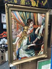 Sale 8784 - Lot 2091 - After Auguste Renoir - Piano Lesson, tapestry, 66x50cm