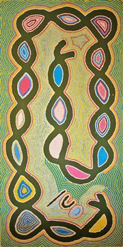Sale 8810A - Lot 5025 - Judy Watson Napangardi (c1925 - 2016) - Ngalyipi - Snake Vine Story, 1997  153 x 76cm