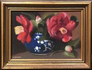 Sale 8853 - Lot 2002 - Helen Beales  - Pink Camelias oil on canvas board, 21 x 27.5cm (frame), signed lower left -