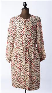 Sale 9003F - Lot 50 - A Longchamp silk patterned long sleeved dress, size 42