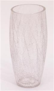 Sale 9015 - Lot 97 - American Crackle Glass Cylinder Vase (some losses) (H: 24.5cm)