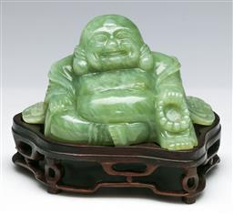 Sale 9138 - Lot 78 - Carved Chinese Greenstone Happy Buddha on Stand (H:14cm W:15cm)