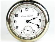 Sale 8402W - Lot 3 - HAMILTON OPEN FACE POCKET WATCH; white dial, hour and minute markers, subsidiary seconds, pull pin under bezel, stem wind on a 17 je...