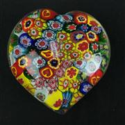 Sale 8402D - Lot 66 - Murano Millefiori Heart Shaped Paperweight (Length - 8cm)
