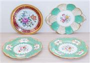 Sale 8430 - Lot 82 - A pair of Minton green cabinet plates together with another green dish and a red plate.