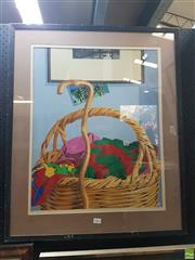 Sale 8573 - Lot 2022 - Artist Unknown - Basket and Walking Stick 80 x 60(frame)