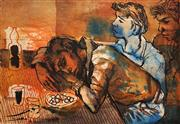 Sale 8671 - Lot 2002 - Donald Friend (1915 - 1989) - Native Boys at a Table 45.5 x 59cm (sheet size)