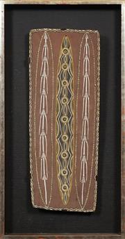 Sale 8743 - Lot 556 - Charlie Rock Ngumbe (1911 - ?) - Untitled (Spears and Shields, 1970) 64 x 25cm