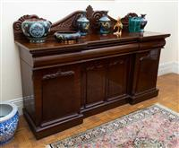 Sale 8735 - Lot 92 - A 19th century Cedar breakfront sideboard with four doors and three drawers, H x 140cm, W x 201cm, D x 58cm