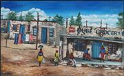 Sale 8878 - Lot 2024 - Ronald Moyo - Outside Dube Grocery Store, 2009 80 x 130cm