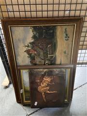 Sale 8927 - Lot 2064 - 2 English School, Mother & Chils Plus Hunting Scene, Oils 30x42cm & 21x25cm, Copper Plaque Ballet Dancer 25x20cm