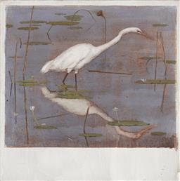 Sale 9170A - Lot 5031 - BRYAN WESTWOOD (1930 - 2000) Stalking Egret oil on canvas 27.5 x 33 cm (frame: 65 x 57 x 4 cm) initialled lower right