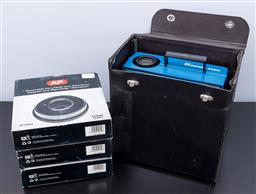 Sale 9256H - Lot 97 - A blue Simda 2200 projector with kodak lens, together with three boxed round slide trays.
