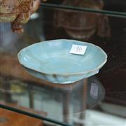 Sale 8369 - Lot 46 - Ru Crackled Blue Glazed Lobed Saucer Dish, 3 spur marks to base, H-3cm, Dia-13.5
