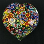 Sale 8402D - Lot 67 - Murano Millefiori Heart Shaped Paperweight (Length - 8cm)