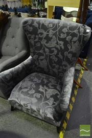 Sale 8472 - Lot 1046 - High Back Velvet Armchair on Slate Blue Finins