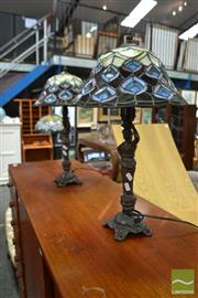 Sale 8480 - Lot 1139 - Pair of Leadlight Table Lamps