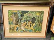 Sale 8582 - Lot 2160 - K. Jaman, Balinese Painting on Textile, The Blessing, SLR 42.5x58cm