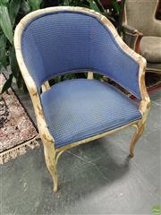 Sale 8601 - Lot 1020 - Timber Armchair with Upholstered Seat