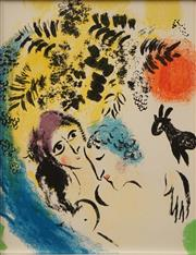 Sale 8633A - Lot 5036 - Marc Chagall (1887 - 1885) - Lovers with Red Sun 30 x 22.5cm