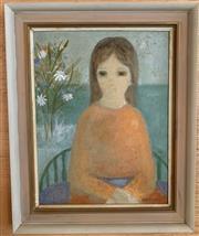 Sale 8510A - Lot 42 - Verney Watts, girl in the orange dress, oil on board, 43cm x 33cm