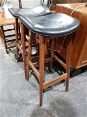 Sale 8765 - Lot 1044 - Pair of Teak Stools with Leather Seats