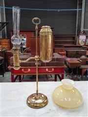 Sale 8792 - Lot 1034 - An Edwardian brass students lamp, height adjustable with a cream glass shade (missing one support bar)