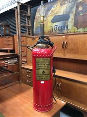 Sale 8859 - Lot 1078 - English Fire Extinguisher Converted to a Lamp