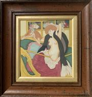 Sale 8939A - Lot 5005 - Franz Von Bayros (1866 - 1924) - Dessins Amoureux: Le Jardin DAphrodite (The Love Swing), 1907 16 x 14.5 cm