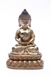 Sale 9023O - Lot 577 - Gilt bronze figure of Shakyamuni seated on double lotus pedestal (H16cm)