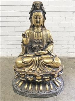 Sale 9126 - Lot 1084 - Large Brass Seated Buddha, in mudra position, raised on lotus base (h:99cm)