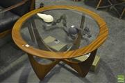 Sale 8287 - Lot 1051 - Circular G-Plan Teak Atmos Coffee Table with Glass Top