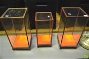 Sale 8368 - Lot 1033 - Three Squared Oriental Glass Display Cabinets