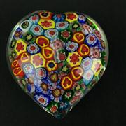 Sale 8402D - Lot 68 - Murano Millefiori Heart Shaped Paperweight (Length - 8cm)
