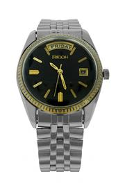Sale 8406A - Lot 7 - Vintage mens Ricoh wristwatch, black dial day date, stainless steel band, 35 mm,  in working order
