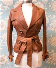 Sale 8474A - Lot 1 - A Karen Millen, England brown leather jacket with belt, featuring belt and buckle cuff design, condition; as new, size: 8