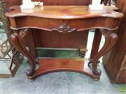 Sale 8617 - Lot 1002 - Victorian Mahogany Serpentine Front Hall Table, with carved apron, cabriole legs & concave lower tier
