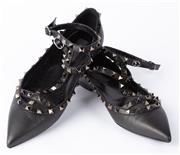 Sale 8910F - Lot 14 - A pair of Valentino rockstud ballerina flats in black leather, with box and dustbag, size 40