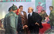 Sale 8939A - Lot 5006 - Russian Propaganda Painting - Lenin the Consensor 160 x 244 cm