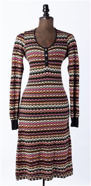 Sale 9003F - Lot 46 - A Missioni multi-coloured knit long sleeved Aline dress size 14