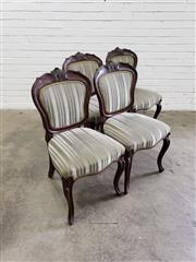 Sale 9085 - Lot 1048 - Set of Four Victorian Carved Mahogany Dining Chairs, the balloon back & seats upholstered in grey striped fabric, raised on cabriole...