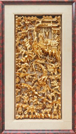 Sale 9097H - Lot 18 - An antique Chinese gilt carved timber panel depicting a reincarnation scene in a burr frame .Frame size 78cm x 45cm x 6cm