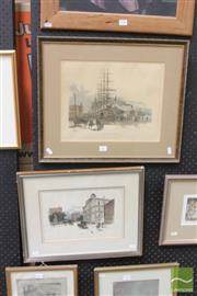Sale 8468 - Lot 2017 - (2 works) Frederick Schell Circular Quay, West Side & Bridge St, handcoloured engravings, 44 x 52.5cm & 36 x 46cm (frame size),...
