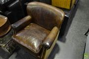 Sale 8472 - Lot 1035 - Leather Sitting Chair with Hessian back and Sides